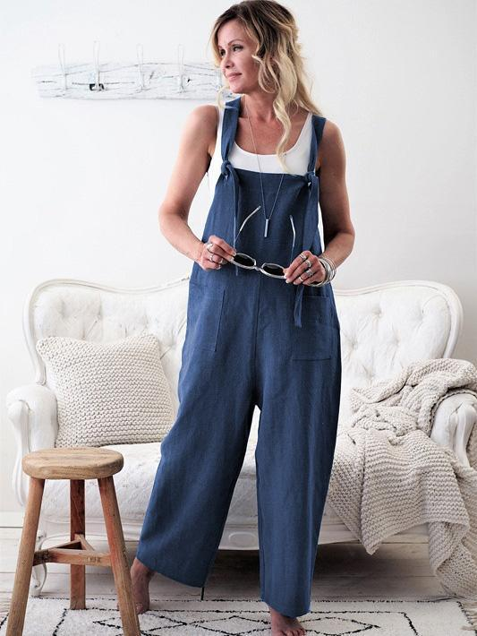 High-waist Loose Suspender Trousers