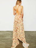 Floral Backless Condole Belt Maxi Dress