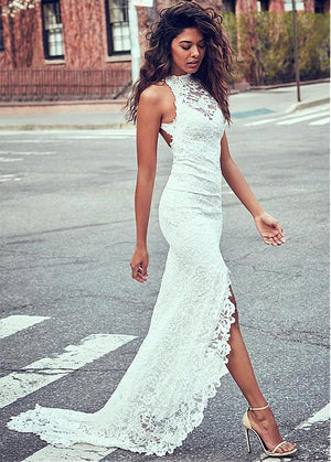 Lace Round Neck Sleeveless Maxi Dress