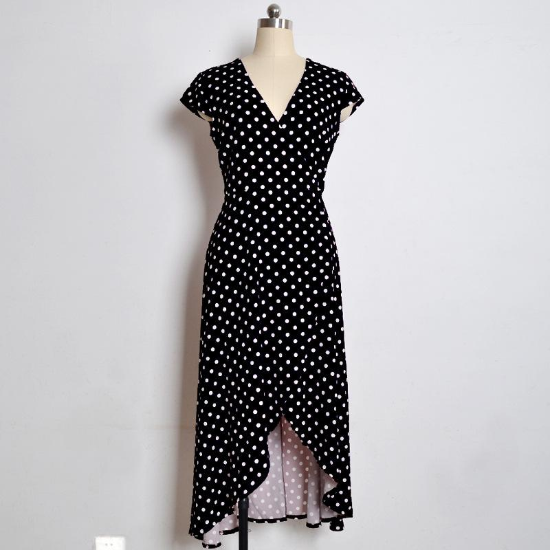 Sexy Polka Dot V Neck Holiday Dress