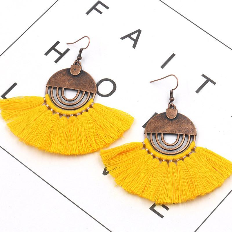 Fashion Bohemian Fan Tassel Earrings