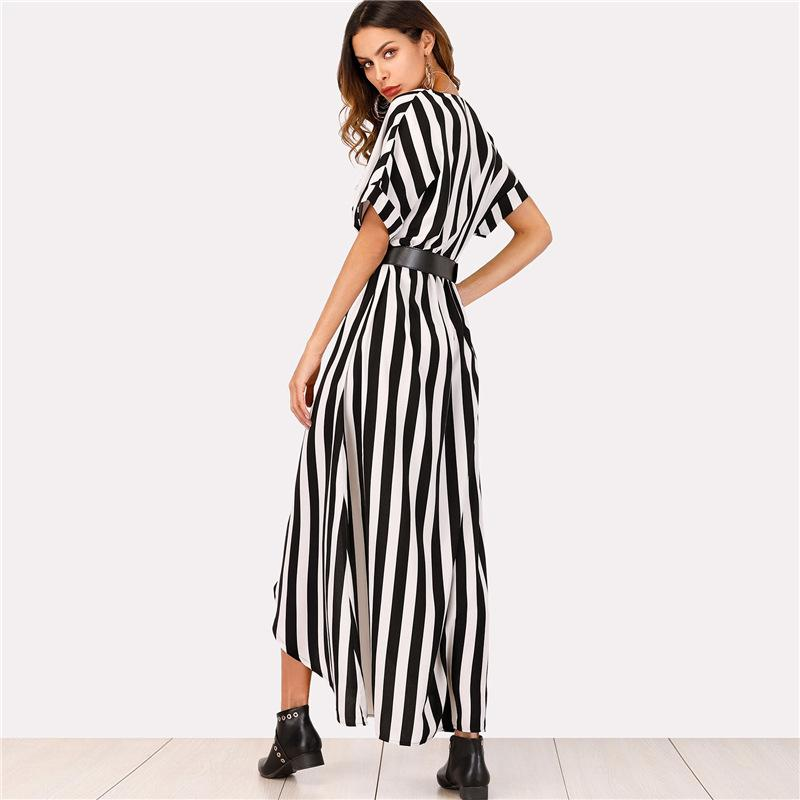 V-neck black and white striped loose large size dress