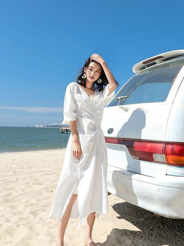 White Long Sleeve A-Line Beach Midi Dresses