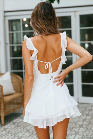 Sexy Frill V-neck Mini Chiffon Dress