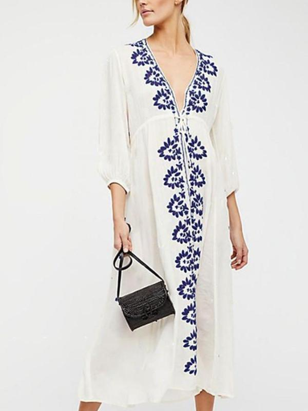 Thin rayon embroidered holiday beach dress