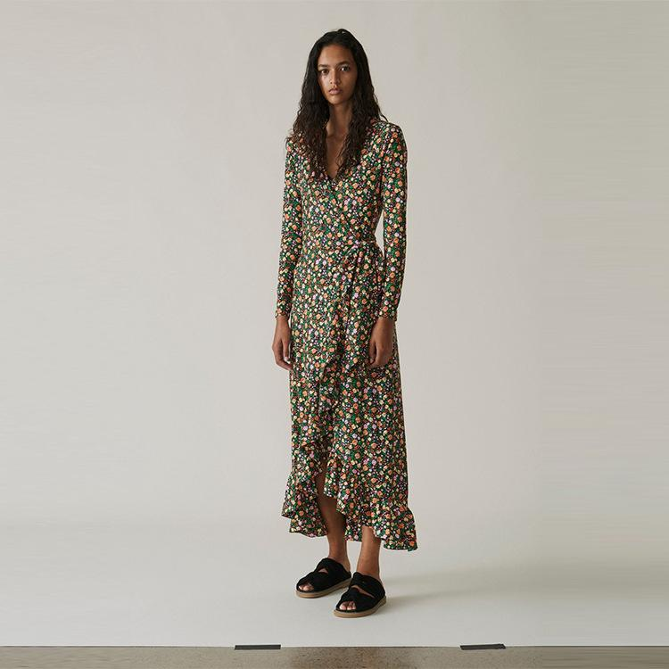 V-neck floral print long-sleeved long Dress
