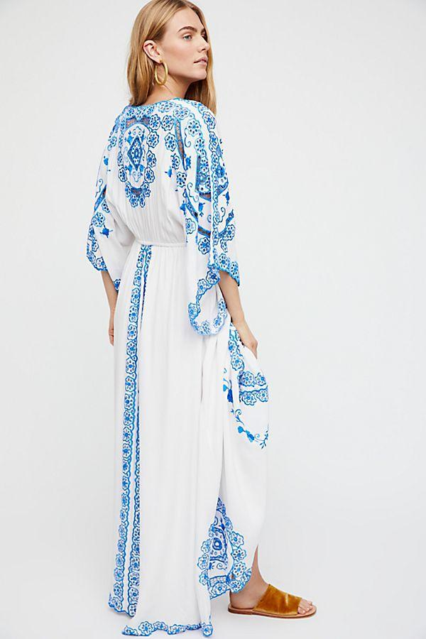 Blue and white porcelain embroidery Chinese style fringe loose sleeve dress