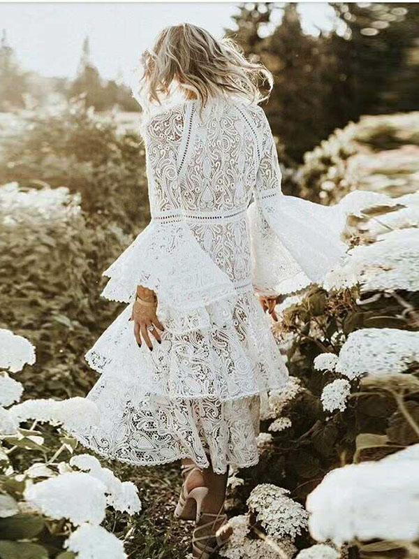 Lace Flared Sleeves Tiered Falbala White Midi Dress