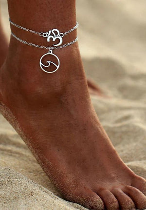 Beach Wave Pendant Double Chain Foot Ornaments