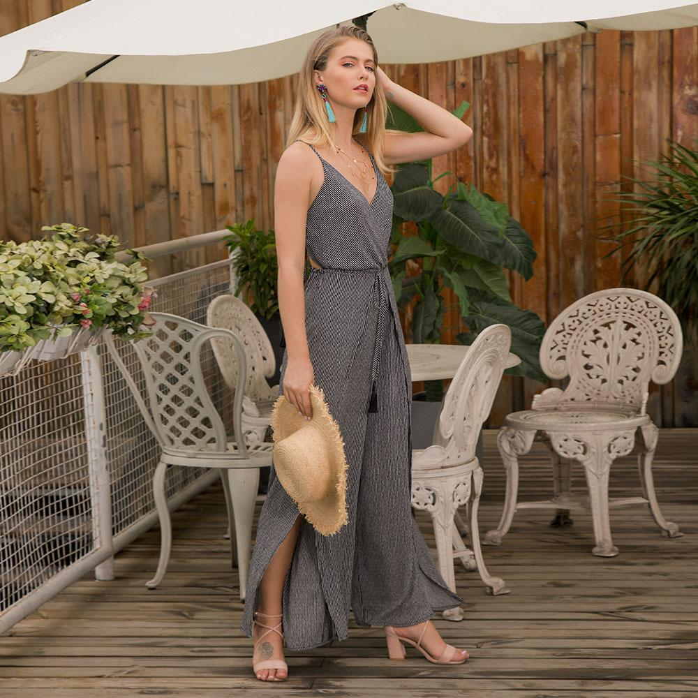 Strap Lace-up Top Strapless Halter V-neck Jumpsuit