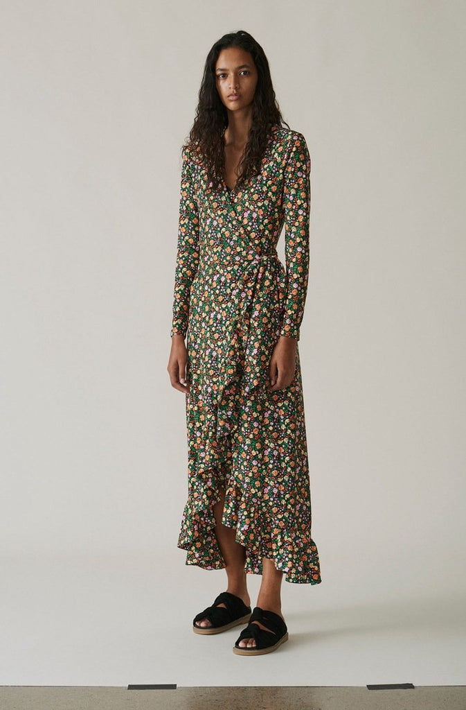 Vintage Floral V-neck Ruffled Long-Sleeved Maxi Dress