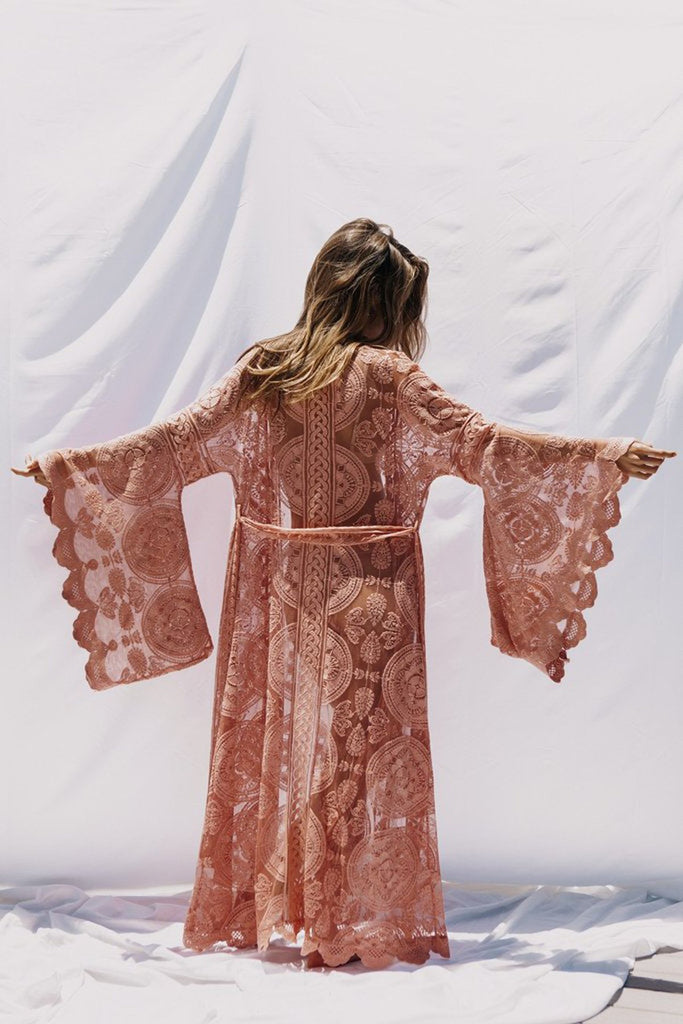Bohemian holiday lace cardigan long kimono cover-up