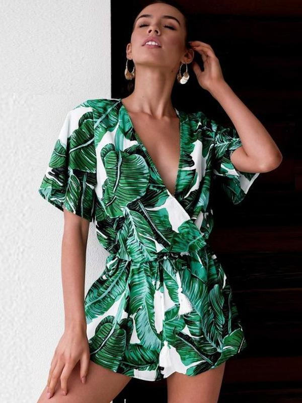 Bohemian Leaf Printed V Neck Casual Jumpsuits
