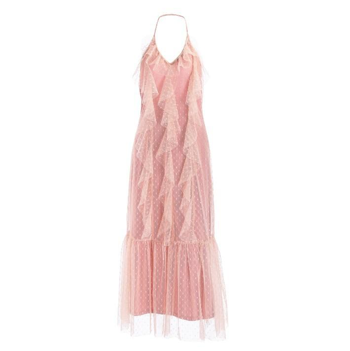 Mesh flounced solid color lining strap Pink Dress