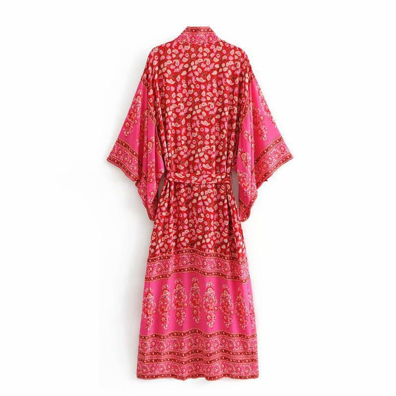 Bohemian holiday print large swing dress retro lace kimono Red Dress