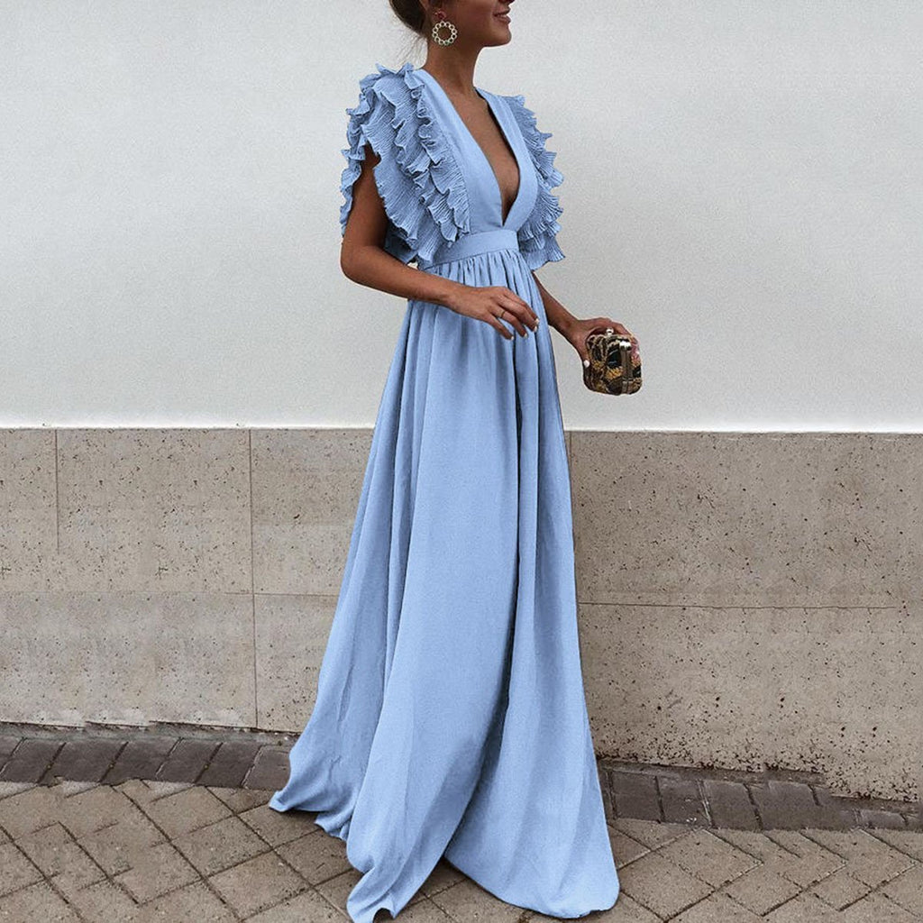 Flying sleeves V-neck halter solid color sweet Maxi Dress