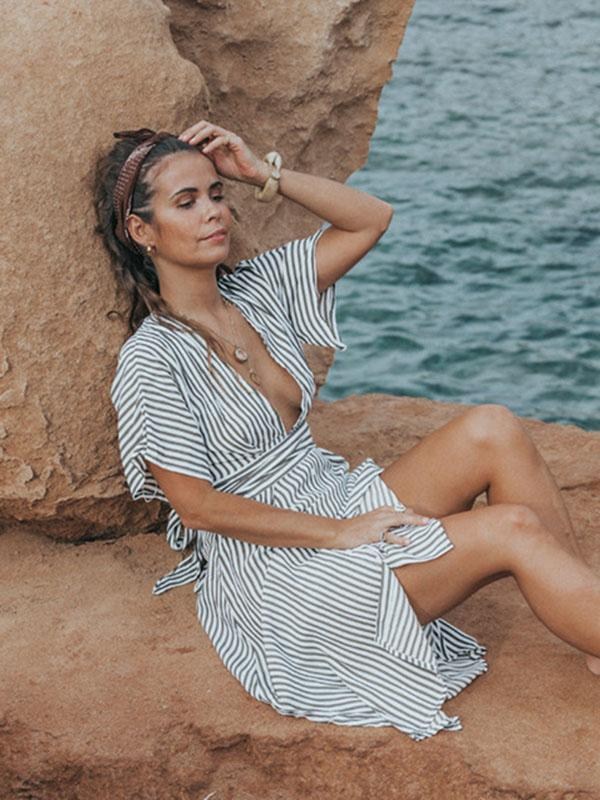Fashion Striped Backless Split-side V-neck Midi Dresses