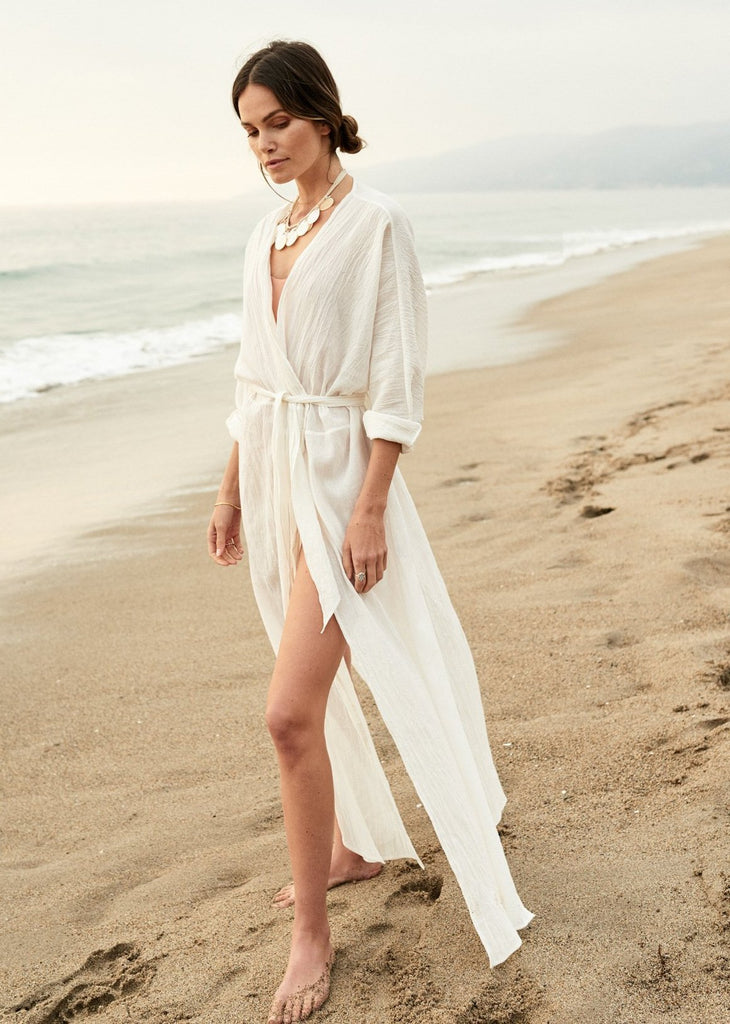 Wrinkled Cardigan with Belt Beach White Holiday White Dress cover-up