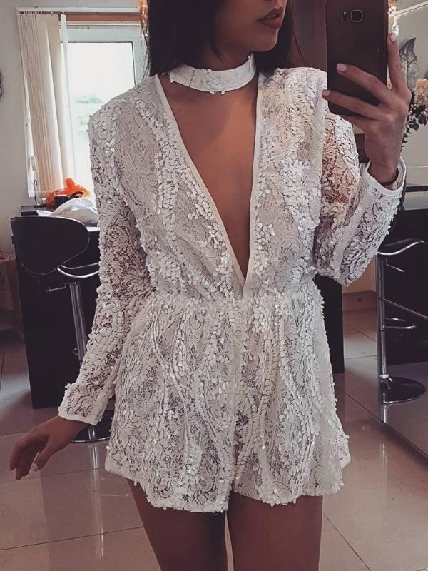 Ruffle V Neck Boho White Rompers Jumpsuits