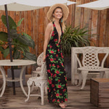 Backless Beach Floral Sexy V-Neck Sleeveless Dress