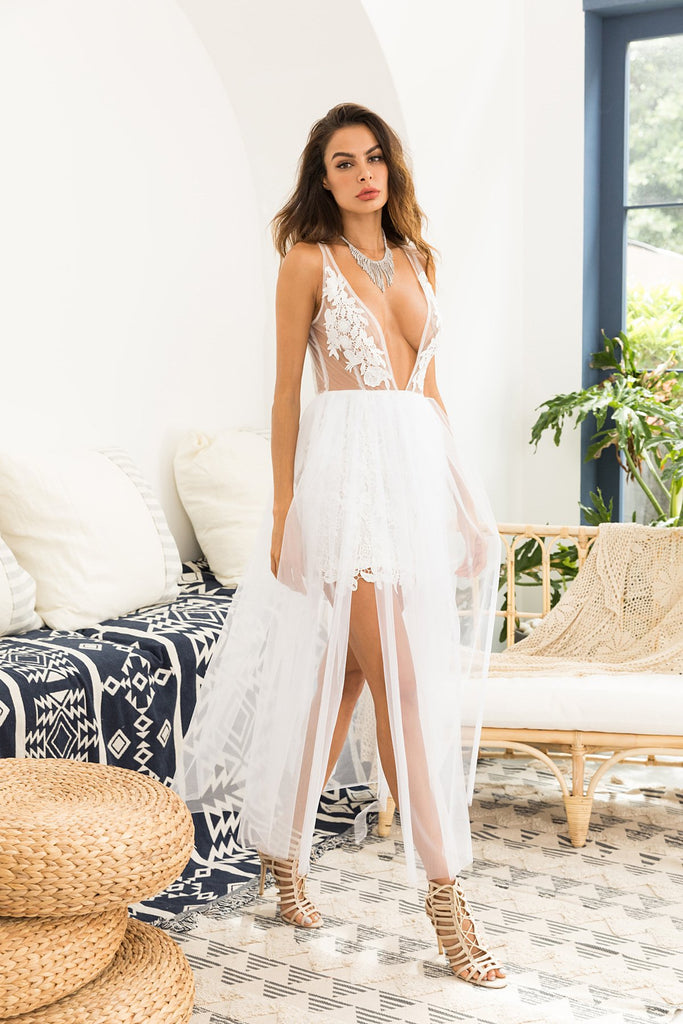 Lace suspender dress light wedding white maxi long dress