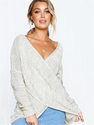 Women V-neck Knitting Sweater Pullover Solid Autumn