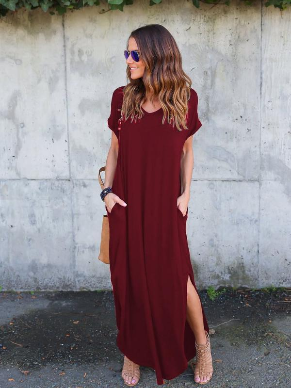 Casual Loose Pocket Short Sleeve Split Maxi Dresses