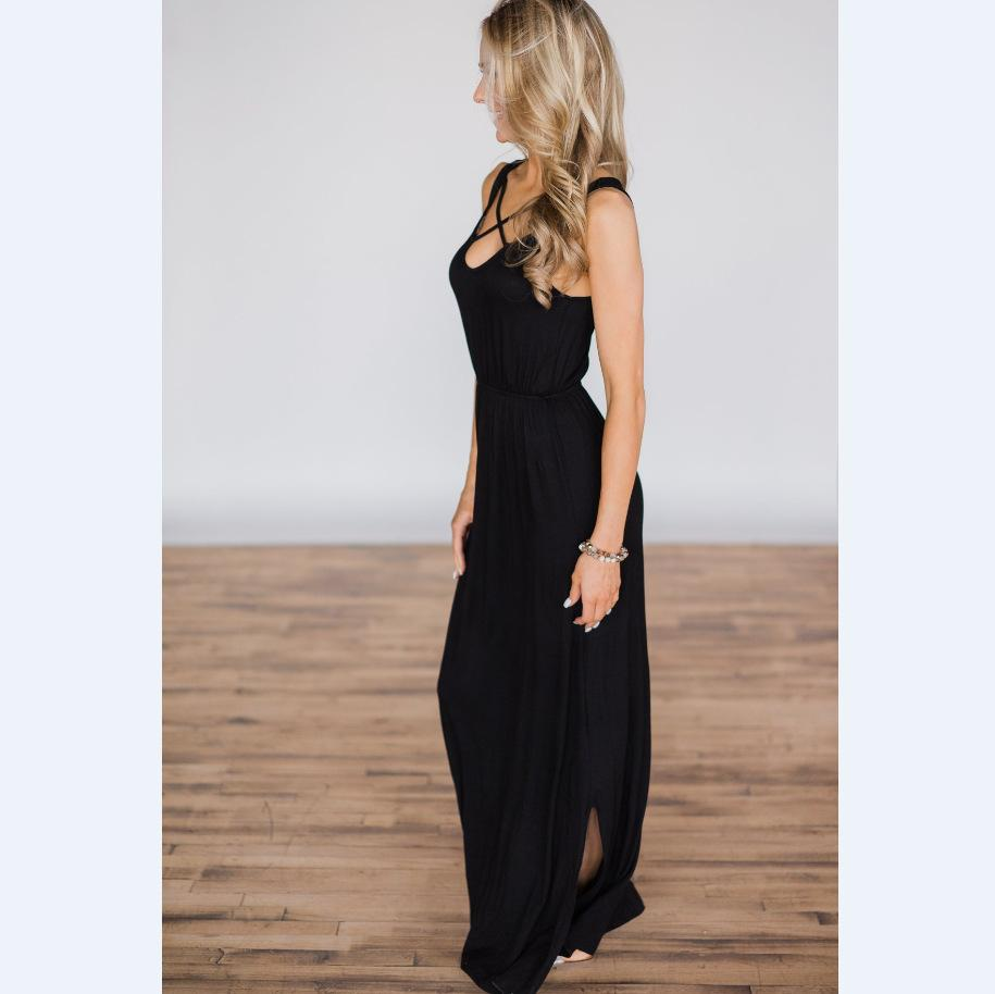 Casual Solid color cross Sleeveless Long Dress
