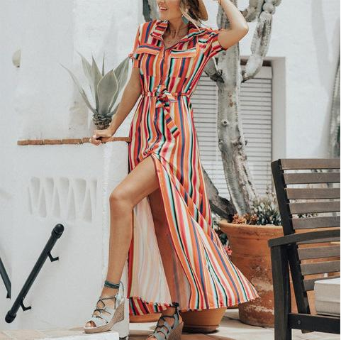 Striped Long Skirt Loose Casual Strap Dress