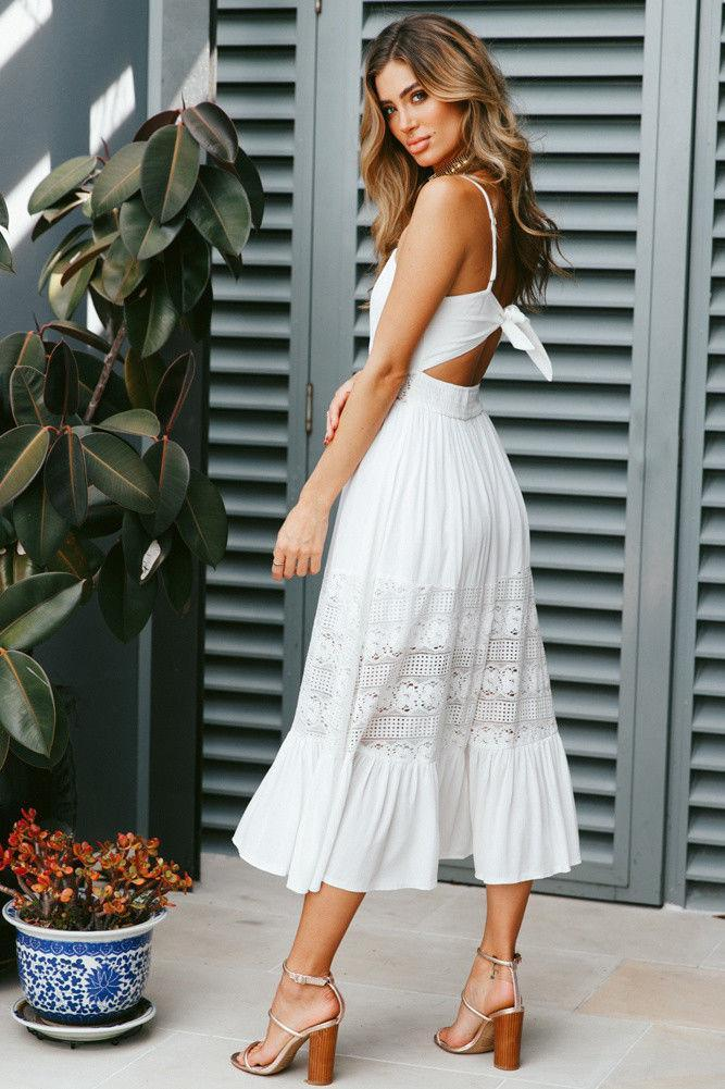 Casual Sexy Backless White Lace Maxi Dresses