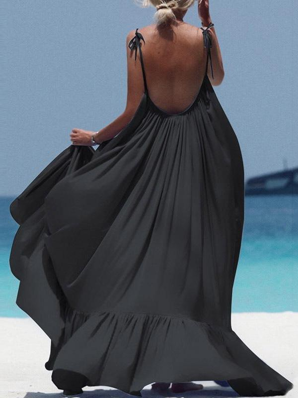 Spaghetti Strap Plain Backless Maxi Dress