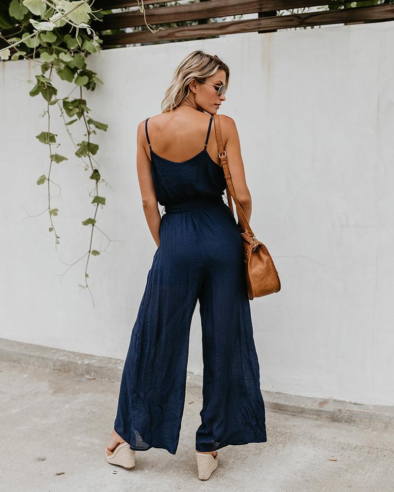 Fashion Sling Solid Color Slimming Wide-Leg Jumpsuit With Belt