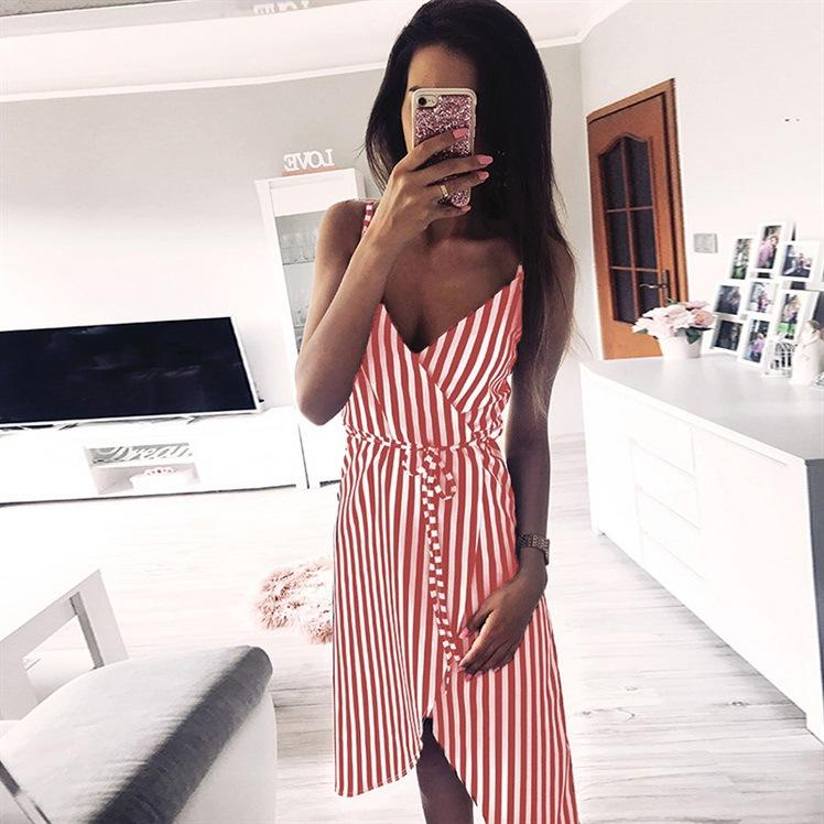 Sexy Striped Spaghetti Straps Midi Dress