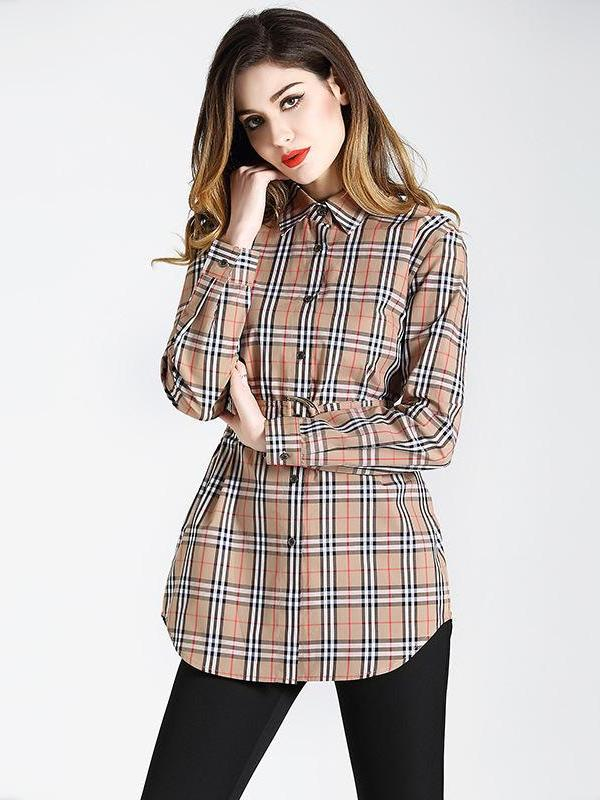 Slim Long sleeves Turn down collar Midi Check Cotton Shirt Top