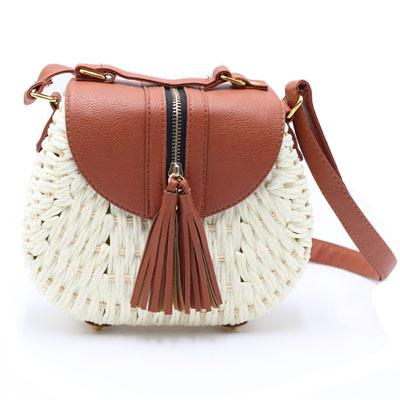 Handmade Tasseled Straw Plaited Article Bohemia Bag