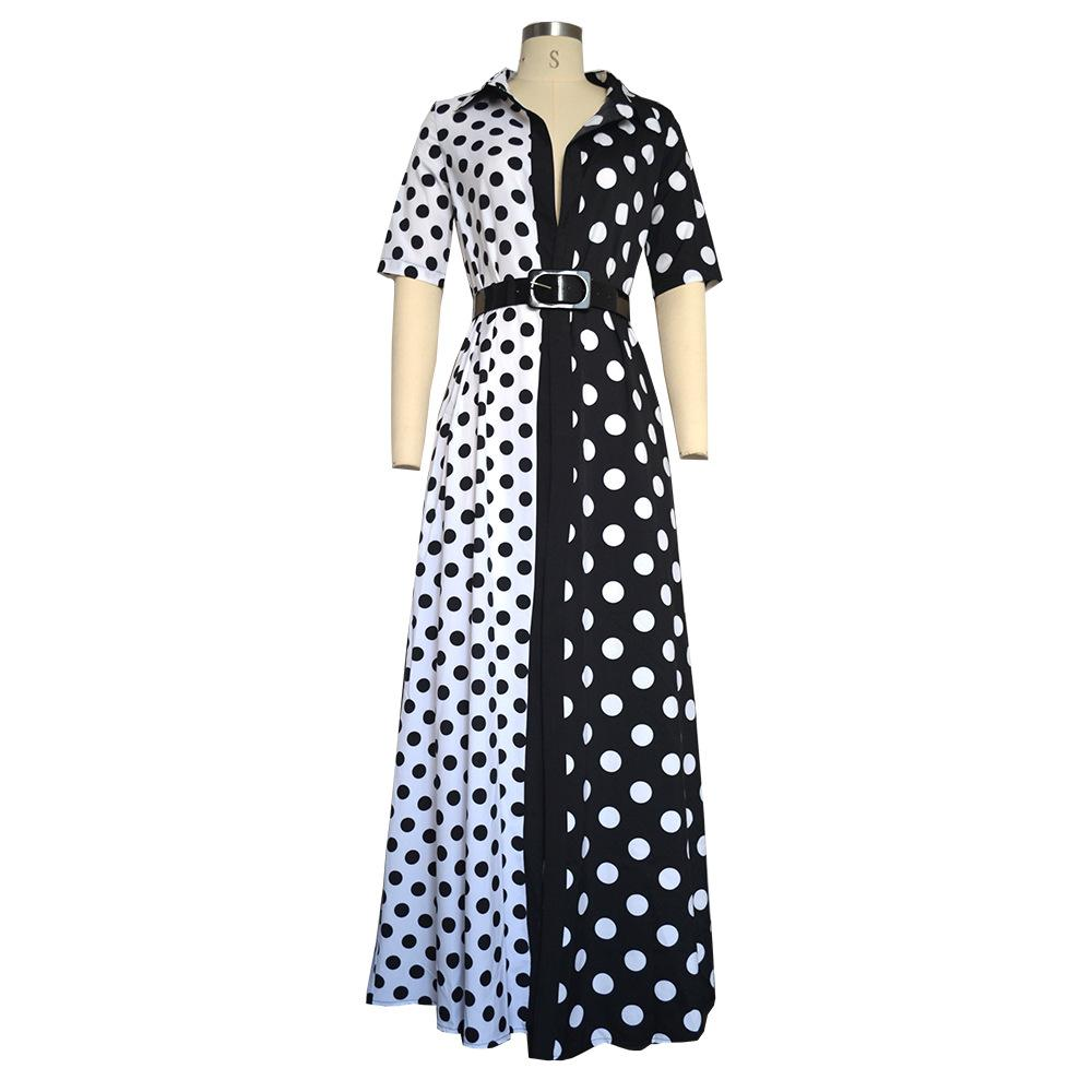 Euro V Neck Sexy Polka Dots Split Hem Dress