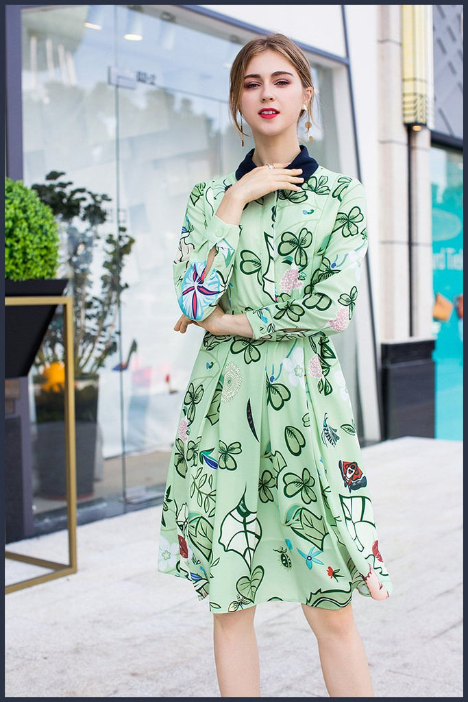 Woman Fashion Printed Autumn Ruffles Midi dress