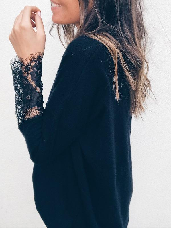 Fashion Lace Knitting Long Sleeves Tops