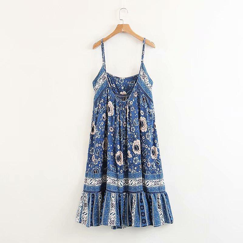 Sexy Sleeveless Strap Boho Blue Floral Print Backless Dress