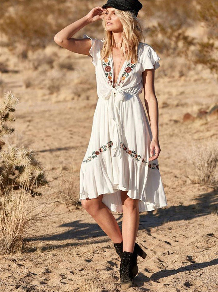 Sexy V Neck Boho Beach Midi Dress