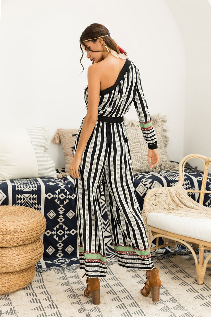 Boho Sexy Ladies Striped Jumpsuits High Waist
