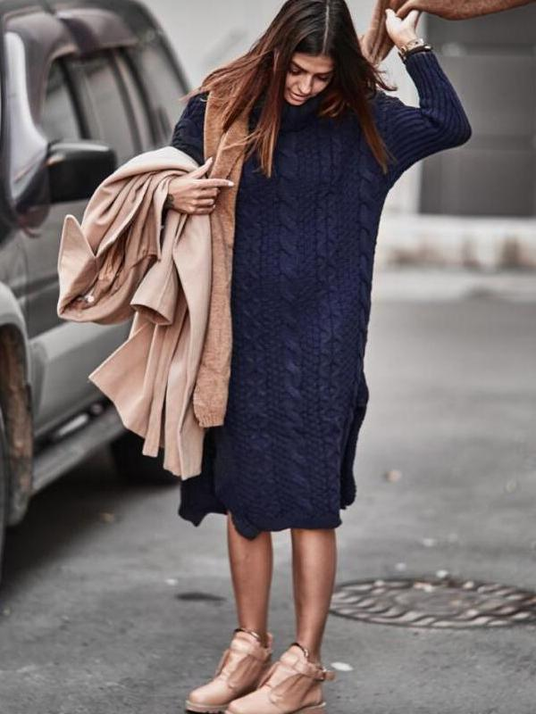 Loose Knit Crocheted Sweater Midi Dress