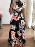 Floral Print Short Sleeves Maxi Dresses