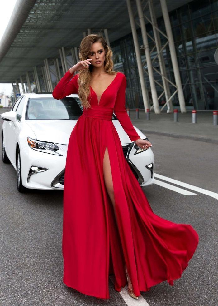 V-Neck Long Sleevethe Sides Split Maxi Dress