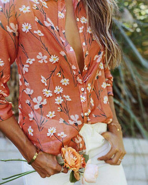 Vintage Pink Loose Long Sleeve Floral Shirt