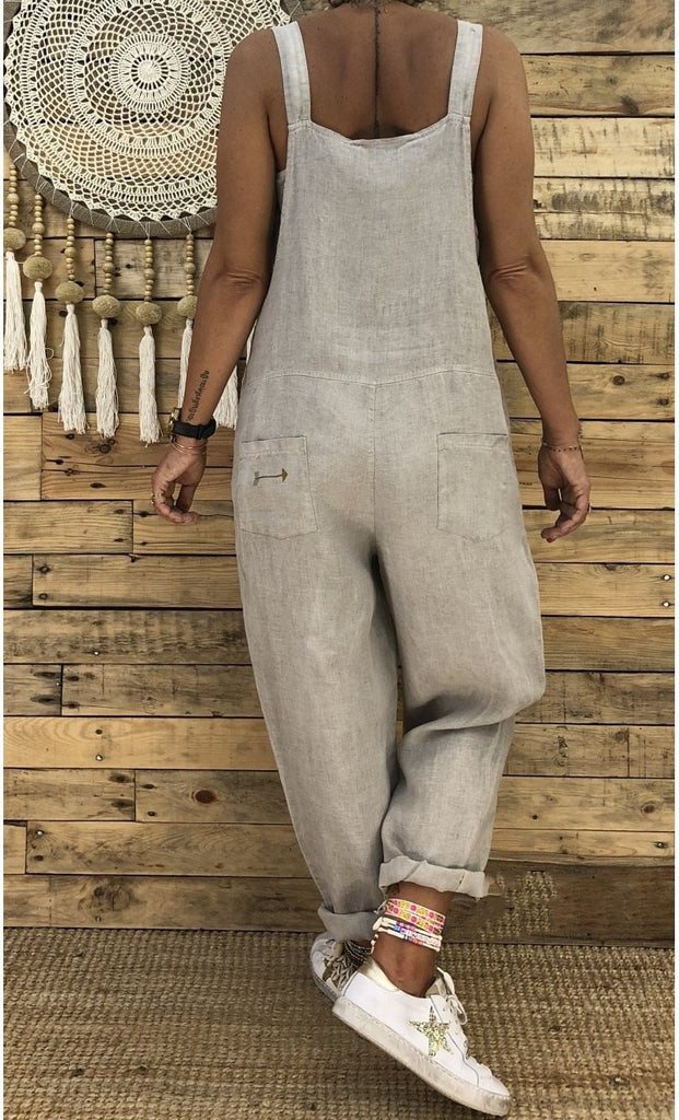 Casual Loose Linen Pants  Jumpsuit Strap Harem Trousers Overalls Lot