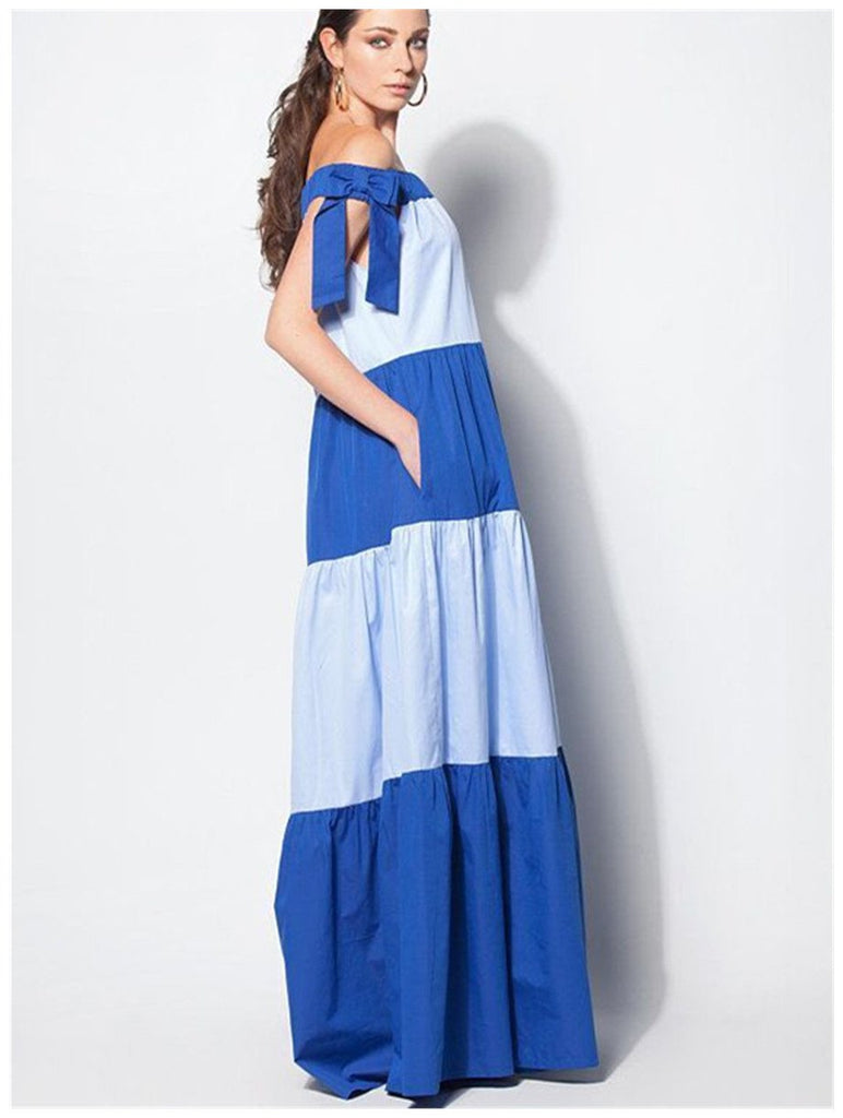 Off Shoulder bohemian Cotton Maxi Dress