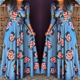 V-neck printed plaid high waist Long Sleeve Maxi Floral Dress