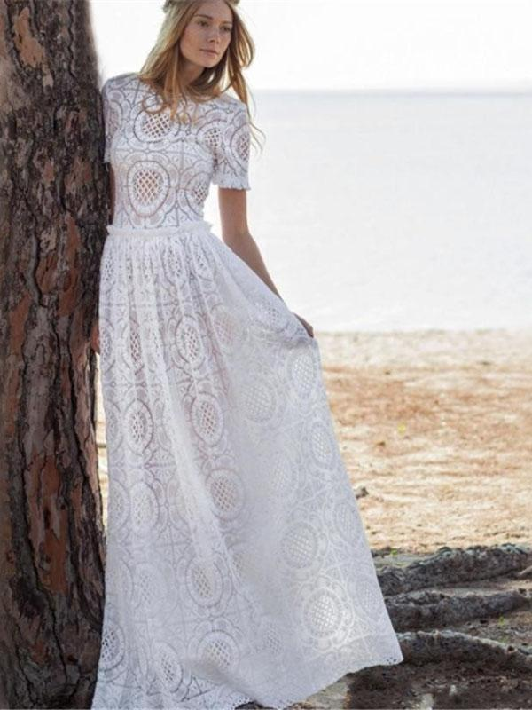 Classical Solid Color White Hollow Maxi Dress