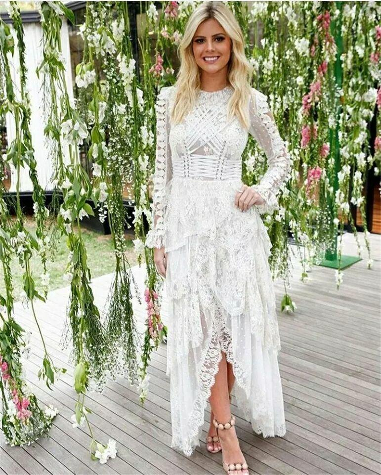 White Lace Wedding Evening Maxi Dress